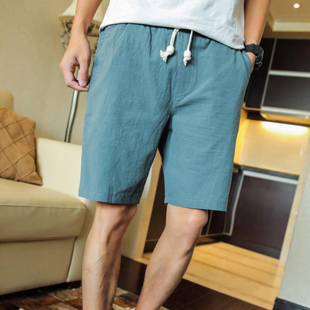Летние хлопковые льняные шорты, повседневные мужские шорты для путешествий, мужские повседневные шорты, одноцветные шорты, модные мужские ...
