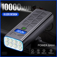 Luce per bici 8T6 torcia a LED per luce anteriore per bicicletta faro per bicicletta ricaricabile USB con Display caricato impermeabile