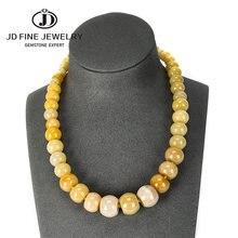 JD-gargantilla con cuenta de piedra Natural para mujer, 19 colores, collar con forma de ópalo, rueda de ópalo rosa, cuentas de Abacus, joyería de fiesta