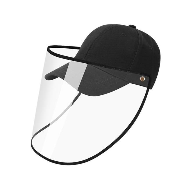 Full Face Protection Baseball Hat Detachable Transparent Face Shield Visor Anti-saliva Unisex Cap