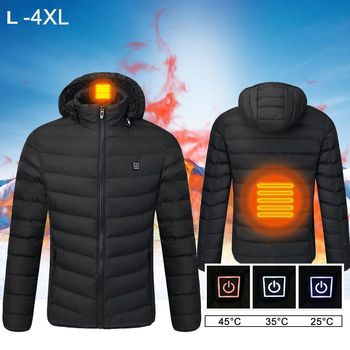 L-4XL Heated Jackets Outdoor Heated Coat USB Electric Battery Long Sleeves Intelligent Heating Coat Winter Warming Clothes
