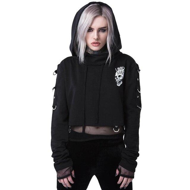 Black cropped hoodies with skull printed on back