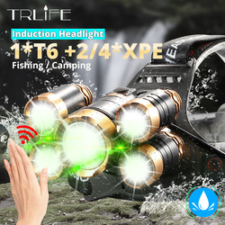 IR capteur LED phare Zoomable Induction pêche phare 18650 batterie main libre Rechargeable T6 lampe frontale lanterne 3/5LED s