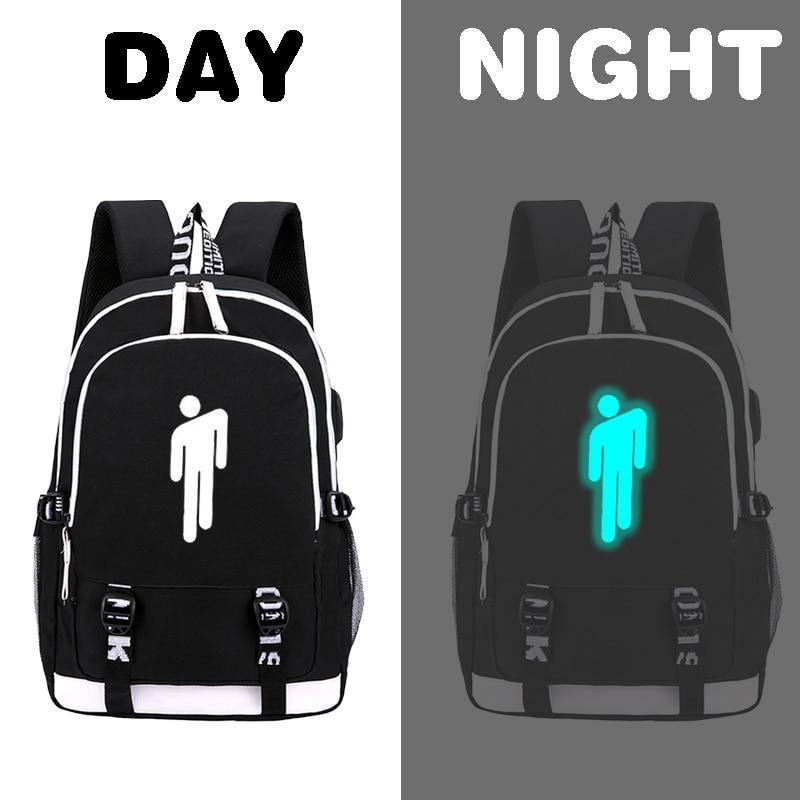 Image 2 - Pop Singer Billie Eilish luminous backpack for Teenage Boys Girls School Bag Can USB Charging and Waterproof Laptop BackpackBackpacks   -