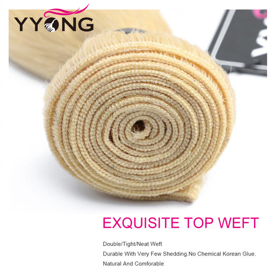 YYong  Striaght 613 Blonde Bundles 1/3/4 Bundles 100g Honey Blond Hair   Blond  Bundles 12-24 Inch 4