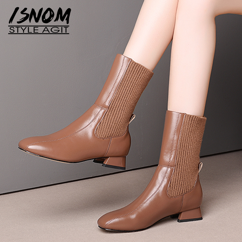 ISNOM Cow Leather Ankle Boots Women Knitting Booties Woman Stretch Shoes Female Square Toe Low Heels Shoes Ladies Winter 2020