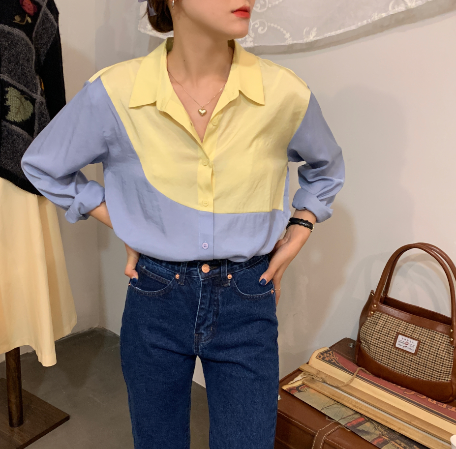 H6dbcfc6cdc7d45b383f0d9d8ceb7e68cE - Spring / Autumn Turn-Down Collar Long Sleeves Patchwork Color-Hit Blouse