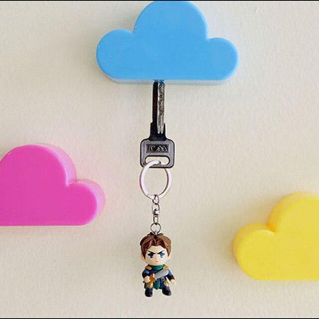 키 홀더 크로 셰 뜨개질 핑크 옐로우 블루 구름 모양 자석 벽 키 홀더 키 화이트 안전하게 벽 후크/키