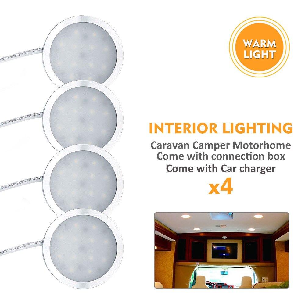 4X 12V Campervan Caravan Warm Interior LED Spot Lights + Remote Control Dimmer Switch Car Light