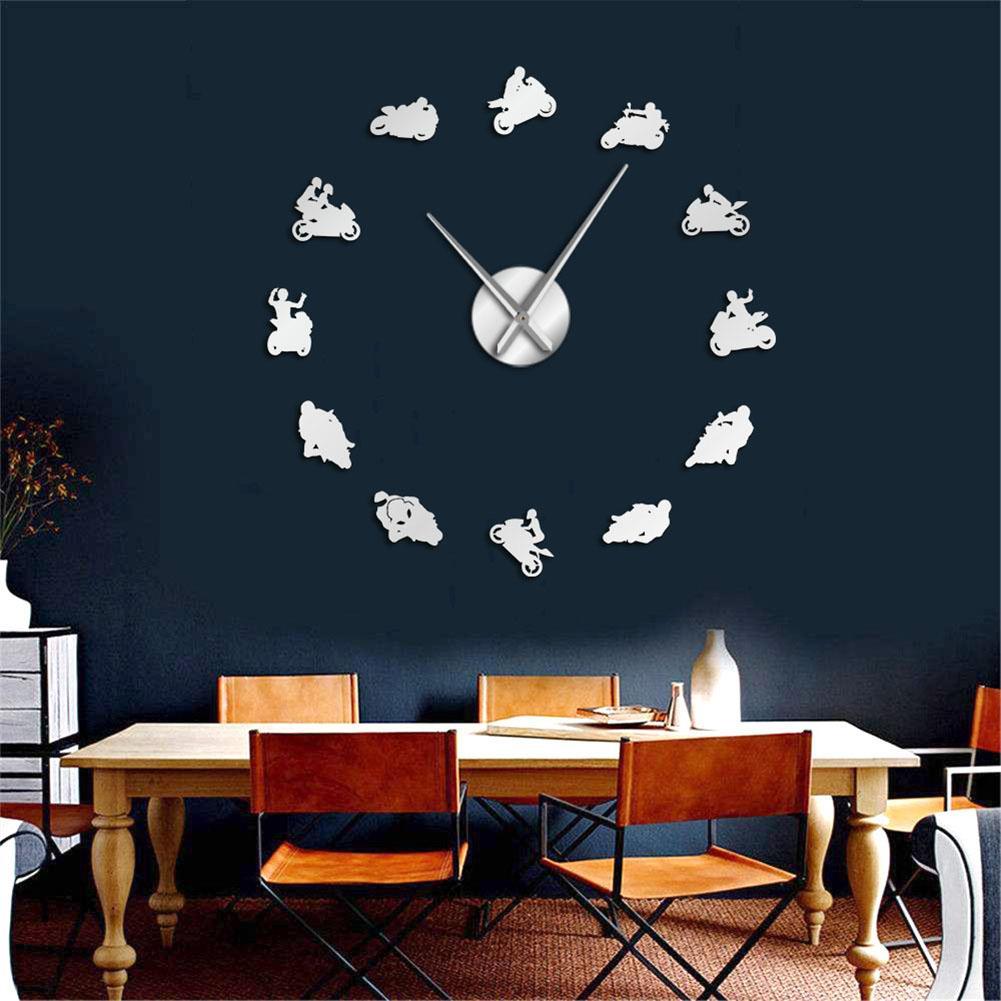 Wall Clock 3D Mirror Stickers Motocross Racer  Self-Adhesive Art Decal Wall Clocks Home Decor Living Room Quartz Needle