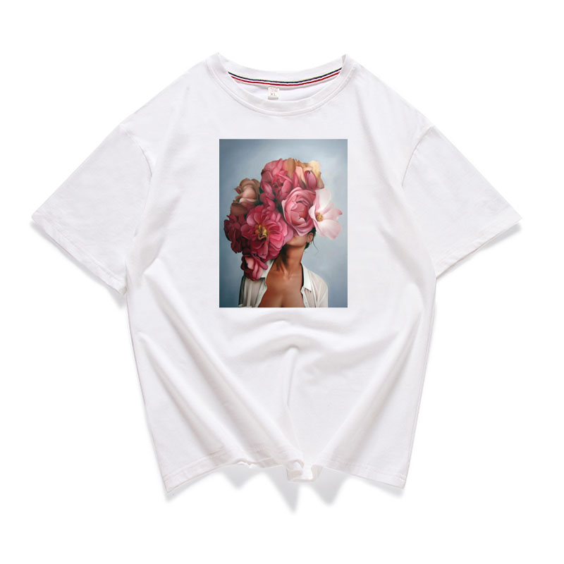 95% Cotton Bloom Flower Feather Women T -shirt Summer Short Sleeve Round Neck Harajuku Printing Tee Casual Fashion Female Tops 6