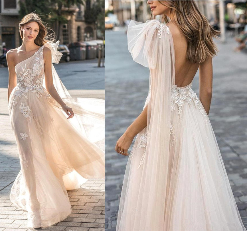 Lace Appliques One Shoulder Wedding Dress Boho Beach Bridal Wedding Dress Sexy Backless A Line Wedding Dress Vestidos Noiva 2019