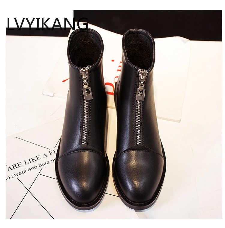 2019 kış çizmeler kadın yarım çizmeler yüksek kaliteli sivri burun bayan botları deri moda çizmeler boyutu 36-40 Zapatos De mujer
