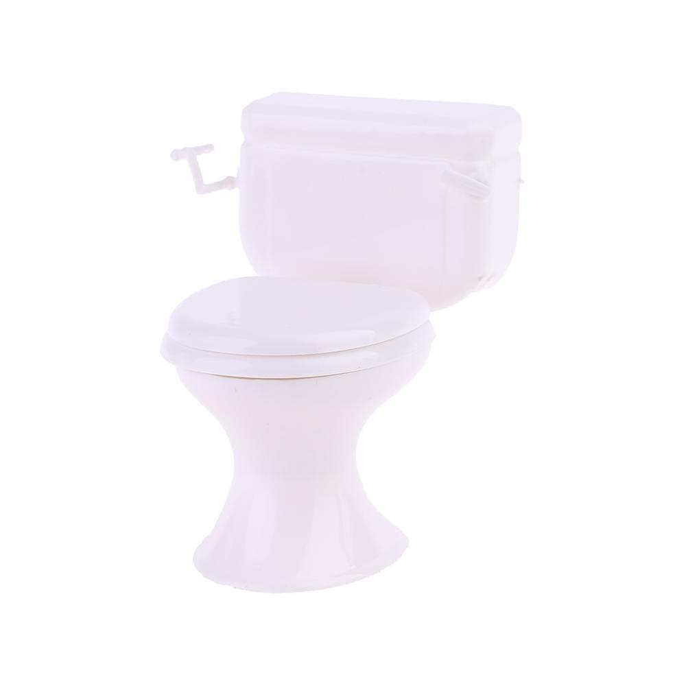 Dollhouse Miniature Furniture Vintage Bathroom Model White Toilet Baby Pretend 24BE