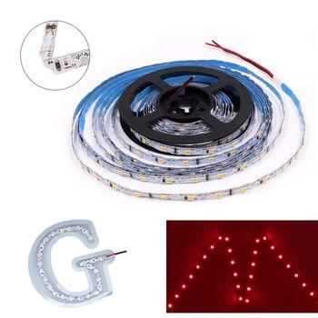 цена на 12V DC LED Flexible Strip Light 5m 2835 SMD S-shape Bendable Sign Strip 60LED/m 300 LED Pixels Tape No Waterproof White PCB