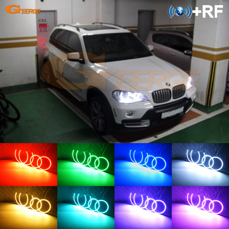 Excellent RF remote <font><b>Bluetooth</b></font> APP Multi-Color RGB led angel eyes halo rings For <font><b>BMW</b></font> <font><b>X5</b></font> <font><b>e70</b></font> 2007 2008 2009 2010 2011 2012 2013 image