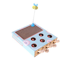 Pet Cat Toy Cat Hitting Hamster Toys 5-holed Cats Interactive Toys for Cat Hunt Gophers Kitten Scratch Board Pad Cat Accessories