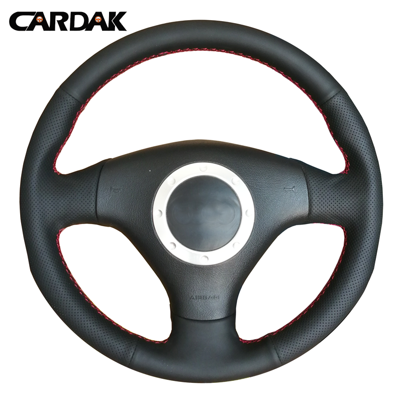 CARDAK Black Artificial Leather Steering Wheel Cover for <font><b>Audi</b></font> A3 8L Sportback A4 B6 Avant A6 C5 <font><b>A8</b></font> <font><b>D2</b></font> TT 8N S3 S4 RS 4 RS 6 A2 image
