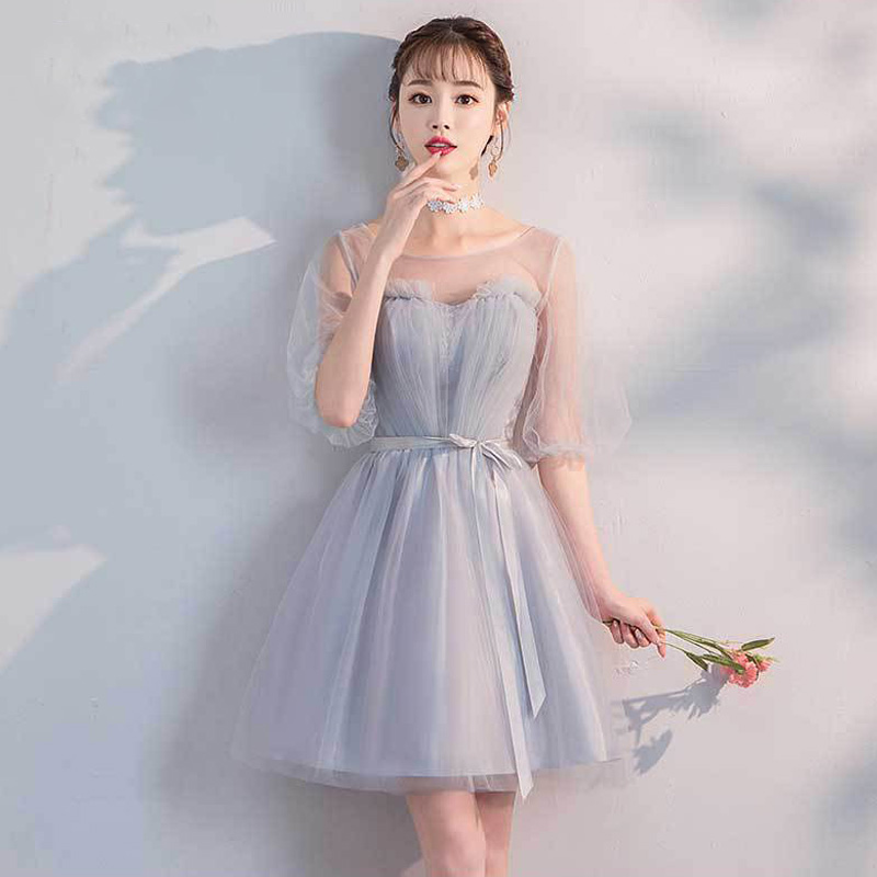 Bridesmaid Dresses Short It's Yiiya R288 Elegant Gray Tulle Special Occasion Dress O-neck A-line Wedding Guest Gowns For Women