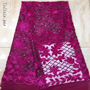 Image 5 - Nigerian Lace Fabric 2019 High Quality Sequin Velvet Lace Fabric Fuchsia Embroidered Tulle African Velvet Lace Fabric