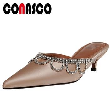 CONASCO Fashion Elegant Casual Women Sandals Slippers Mules Pumps Summer New Rhinestone Applique Thin Heels Shallow Shoes Woman