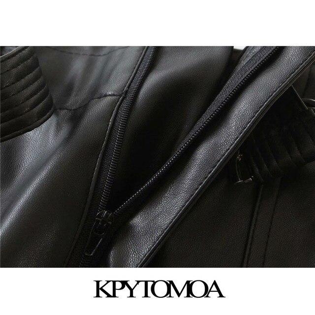 KPYTOMOA Women 2020 Chic Fashion With Belt Faux Leather Shorts Vintage High Waist Zipper Fly Pockets Female Short Pants Mujer 4