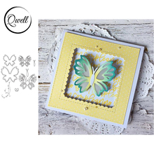 QWELL Butterflies Hollow Out Metal Cutting Dies for DIY Scrapbooking Craft Paper Card Album Making Template Embossing Dies 2020 eastshape wedding metal cutting dies hollow for scrapbooking 2019 new cutting dies diy album card making decor paper craft