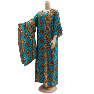 Image 1 - 2019 Dashikiage piękna afrykańska moda O Neck krótka, zwiewna rękaw elegancka szlachetna damska długa sukienka z szalikiem