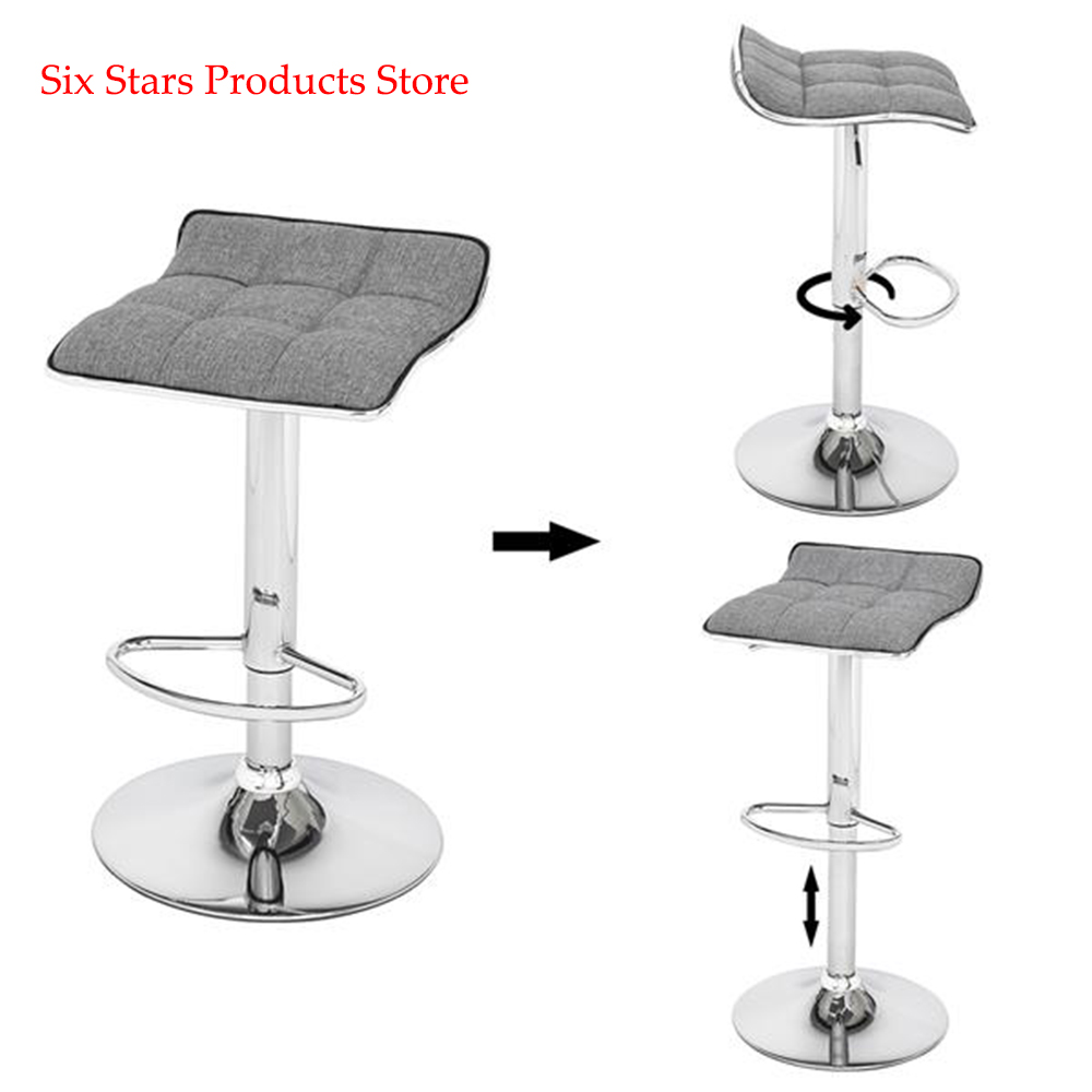 2 Pcs  Adjustable Soft-Packed Square Board Curved Foot Bar Stools Cotton And Linen Fabric Dark Gray