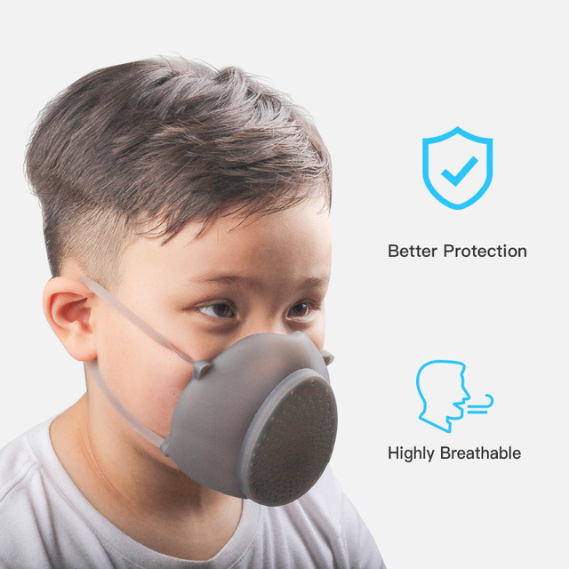 Child Kids Reusable Mouth Mask Silicone Anti Dust Flu Mask Protective N95 Air Purifier Respirator Stock