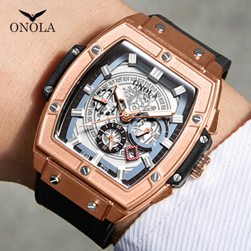 ONOLA Brand Luxury Classic Quartz Watch Man 2019 Lumious Tonneau Square Big Wristwatch Business Casual Disigner Watch For Man