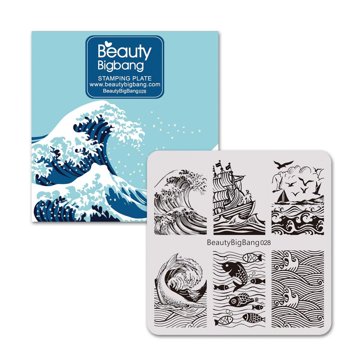 Beautybigbang prego stamping placas beleza laço borboleta