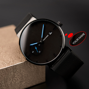 Image 4 - ボボ鳥レロジオ masculino 超薄型カスタマイズ名メンズ腕時計ステンレススチール日付表示彫刻テキスト腕時計彼のために