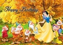 Disney-Fondo de fiesta de cumpleaños para niños, decoración de carteles regalos y decoraciones de fiesta, Blancanieves, enanitos