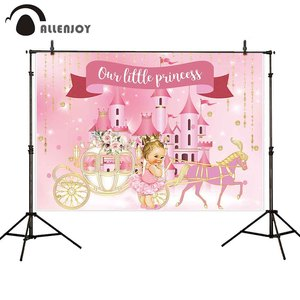 Image 3 - Allenjoy Golden Castle Princess Backdrop Pumpkin Carriage Flower Birthday Background Photo Zone Photoshoot Prop Banner