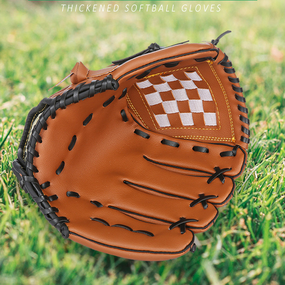 10.5'' 11.5'' 12.5'' Leather Softball Gloves Baseball Catcher Mitt PU Gamer Glove For Left-Handed Thrower Kids Adult