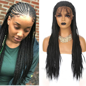 AIMEYA 13×6 Braided Lace Front Wigs for Black Women Synthetic Black Box Braids Wig with Baby Hair Half Hand Tied Braided Wigs