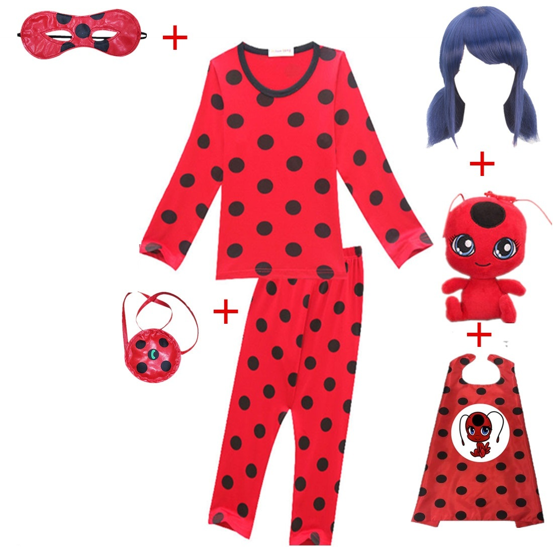 2019 Carnival Clothing Lady Bug Cosplay Sets Ladybug Halloween Christmas Party Custumes With Wig Mask Kids Marinette Girls Suit