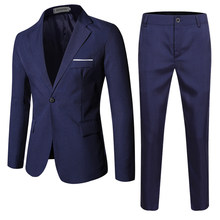 2021 men's suit + suit and trousers, two-piece set, self-cultivating leisure, formal work suit, banquet party