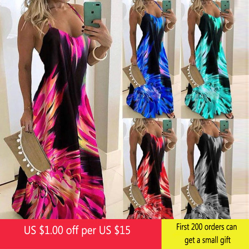 Vintage Leaf Print Dress Sexy Spaghetti Strap V Neck Long Dress Women Summer Big Swing Beach Dresses Party Tunic Plus Size 6XL