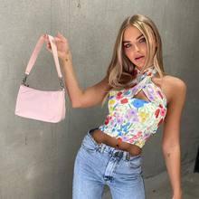 Crop Top Women Summer Flower Kawaii Backless Sleeveless Sexy Tanks Camis Tops Women 2020 Halter Top