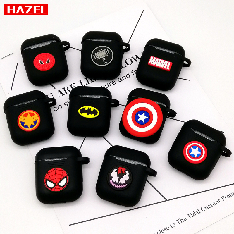Hot Marvel Captain America Wireless Bluetooth Earphone Case For Apple AirPods 1 2 Protective Cases Headphones Cover Charging Box