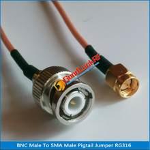Alta-qualidade bnc macho para sma macho plug rf conector rg316 trança jumper cabo baixa perda
