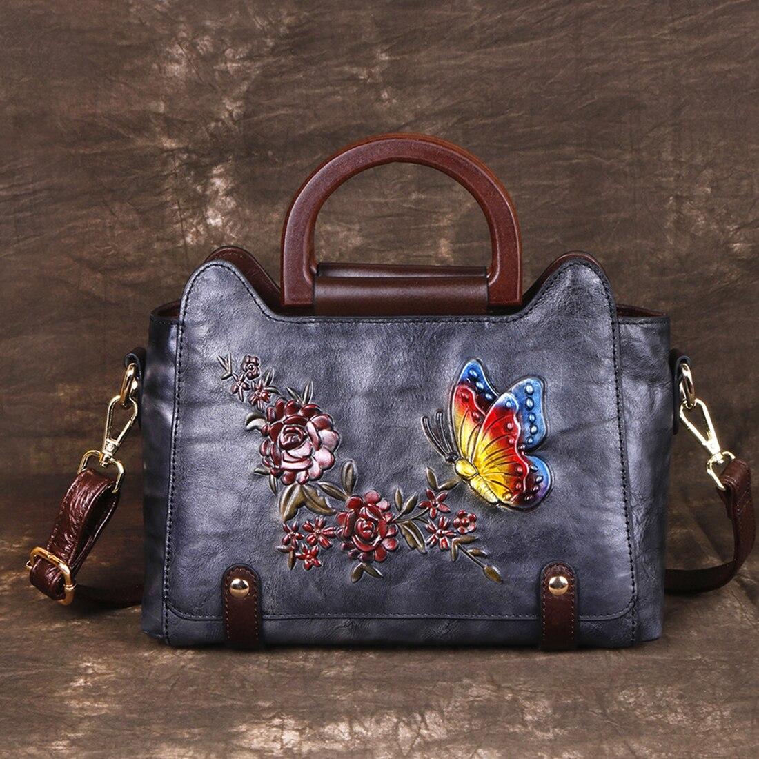 Retro Women Messenger Cross Body Bag Embossed Floral Tote Bags High Quality Female Handbag Genuine Leather Shoulder Bags