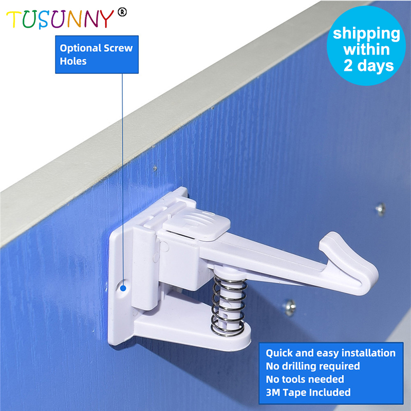 TUSUNNY 6 Pcs Magnetic Baby  Kids Safety Latch  Locking Drawer Cabinet Cupboard Lock