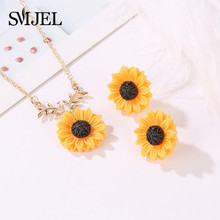 SMJEL Fashion Sunflower Necklace Gold Locket Sunflower Pendant Necklace for Women Letter You Are Mine Sunshine Jewelry collares