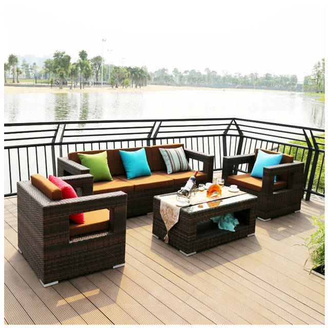 US $1029.0 |Outdoor furniture rattan chair corner leisure sofa tea table  sets with cushion on AliExpress