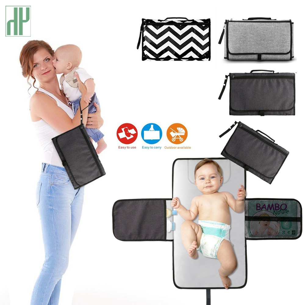 Portable Changing Station For Newborn Baby Infant - Lightweight Travel Home Diaper Changer Mat With Pockets - Waterproof & Fol