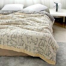 Японское летнее одеяло покрывало на кровать хлопок мультфильм Кот плед покрывало на кровать матрас, домашний текстиль