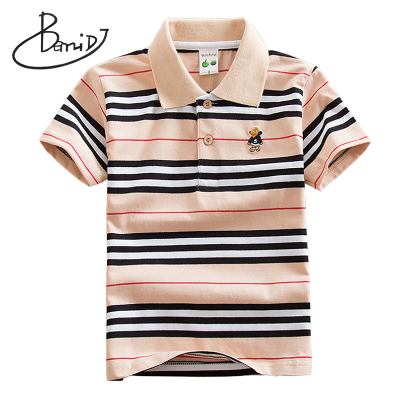 2019 New Boys Clothing Buttoned Turn-down Collar Striped Short Shirts Cotton Top Quick Dry Features Student Clothes Size 3T-12T